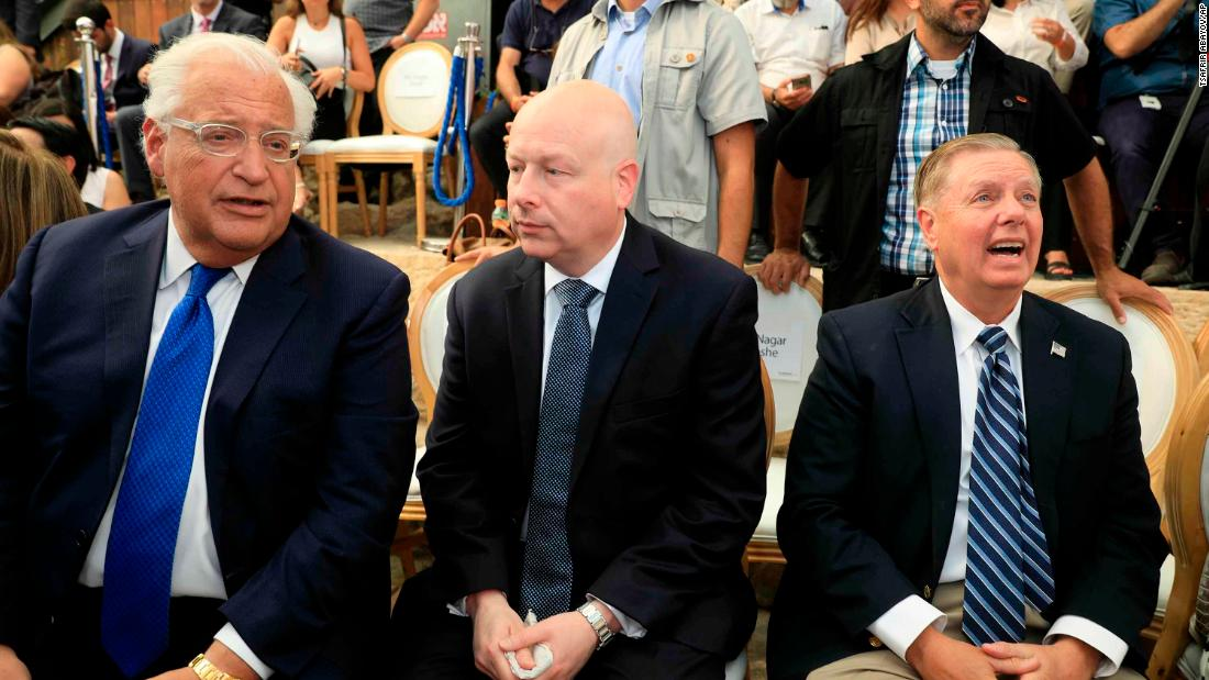 David Friedman, along with White House Middle East envoy Jason Greenblatt and Sara Netanyahu, wife of the Israeli Prime Minister, were among those present at the inauguration of the Pilgrimage Road site, in the Silwan neighborhood of East Jerusalem, whose population is overwhelmingly Palestinian.