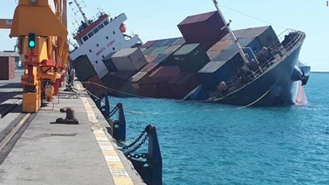 The Azerbaijan State Maritime Administration said it received a distress signal from an Iranian cargo ship near the port after it had been involved in an accident.