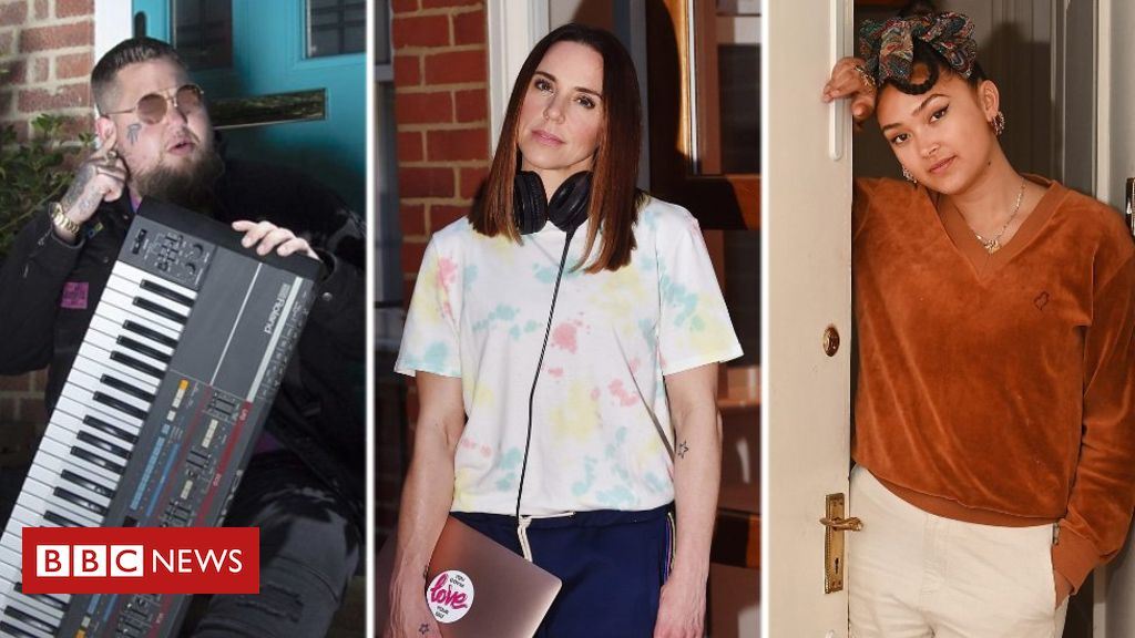 Spice Girl Mel C posed with her laptop and headphones, saying they've been