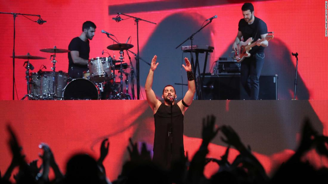 The crowd was euphoric. Many in the audience had known music act Mashrou' Leila from the band's earliest days, performing in small local festivals around Lebanon. Their bold lyrics about queer romance, political corruption and religious sectarianism sung to the Balkan-influenced tunes and Sinno's soaring vocals.