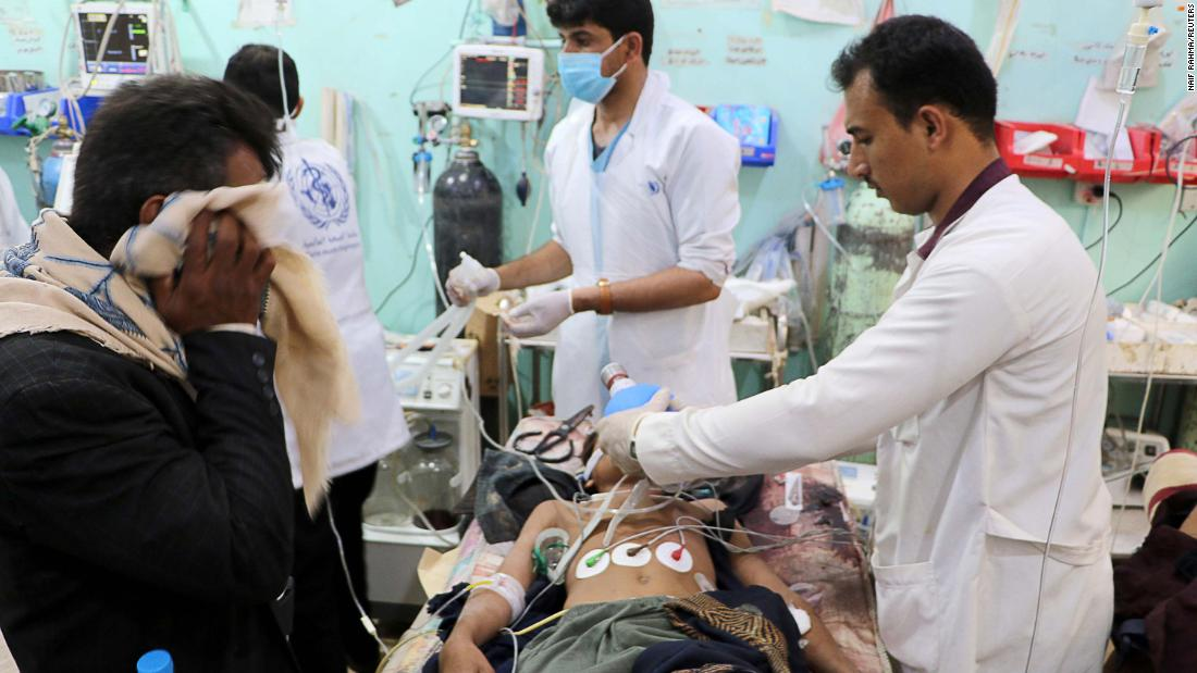 A Houthi-run hospital report, released by spokesman Mohammed Abdul Salam, held the Saudi-led coalition responsible for the incident and said it also wounded 26, including 14 children.